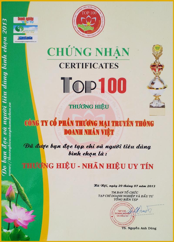 Top 100 thương hiệu nhãn hiệu uy tín 2013