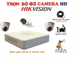 Bộ kit camera 3 camera HikVision 1.0MP